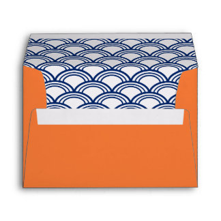 Royal Blue Seigaiha Pattern with Orange Envelopes
