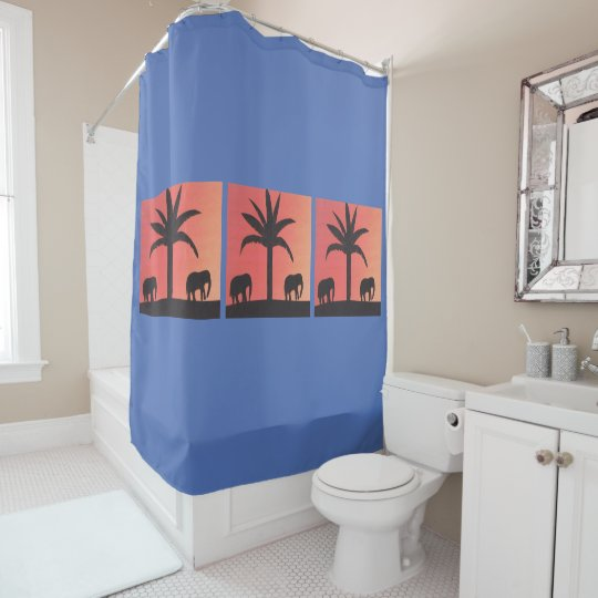 Royal Blue Shower Curtain With Elephant Scene