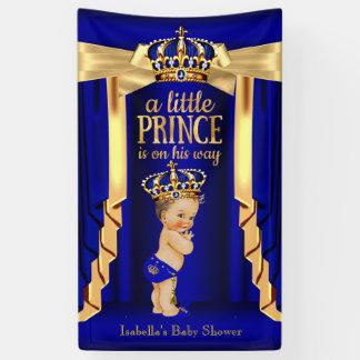 Royal Blue Silk Gold Crown Baby Shower Brunette Banner