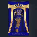 "Royal Blue Silk Gold Crown Baby Shower Ethnic Banner<br><div class=""desc"">Banner Royal Blue Gold Silk Curtains and Crown Baby Shower Boy. Prince Baby Shower Royal Blue Gold Baby Shower Boy. Gold Crown Boy Baby Shower. Ethnic African American Baby Shower</div>"