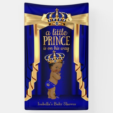 Toddler & Baby themed Royal Blue Silk Gold Crown Baby Shower Ethnic Banner