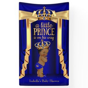 VintageBabyShop Royal Blue Silk Gold Crown Baby Shower Ethnic Banner