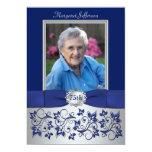 "Royal Blue, Silver 75th Photo Birthday Invitation 5"" X 7"" Invitation Card"