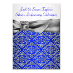 Royal Blue Silver Damask Silver 25th Anniversary Card