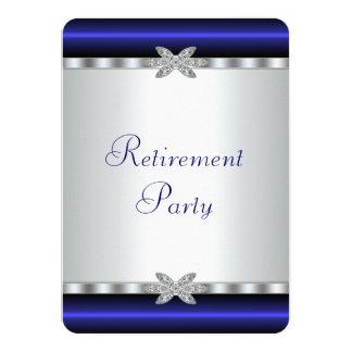 Royal Blue Silver Diamond Womans Retirement Party 4.5x6.25 Paper Invitation Card