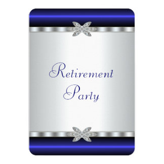 Royal Blue Silver Diamond Womans Retirement Party Card