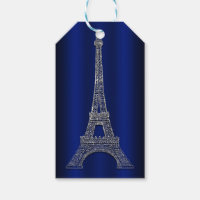 Royal Blue Silver Eiffel Tower Paris Wedding Favor Gift Tags