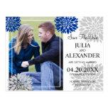Royal Blue Silver Floral Burst Photo Save The Date Postcard