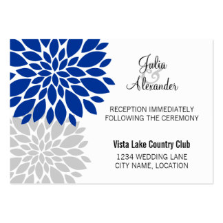 Royal Blue Silver Floral Burst Reception Cards Large Business Cards (Pack Of 100)