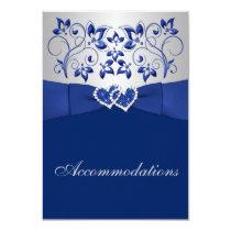 royal blue silver floral hearts enclosure card - Royal Blue And Silver Wedding Invitations