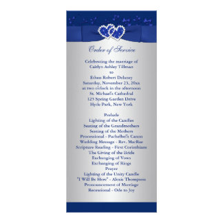 Royal Blue, Silver Floral Hearts Wedding Program