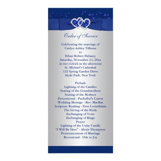Royal Blue Silver Floral Hearts Wedding Program