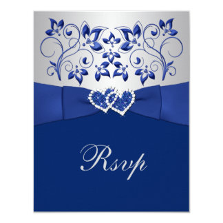 Royal Blue, Silver Floral, Hearts Wedding RSVP Card