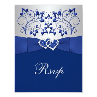 Royal Blue, Silver Floral, Hearts Wedding RSVP 4.25x5.5 Paper Invitation Card