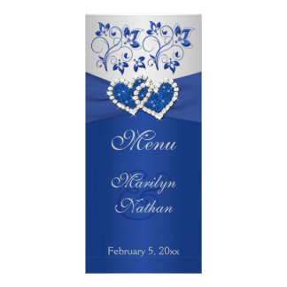 Royal Blue, Silver Floral Joined Hearts Menu Card
