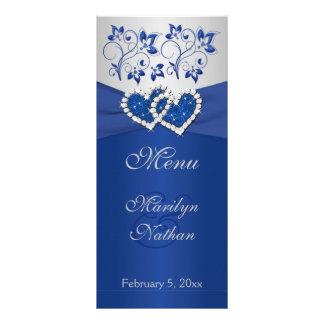 Royal Blue, Silver Floral Joined Hearts Menu Card Custom Rack Card