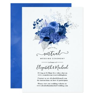 Royal Blue & Silver Online Virtual Wedding Invitations, Floral