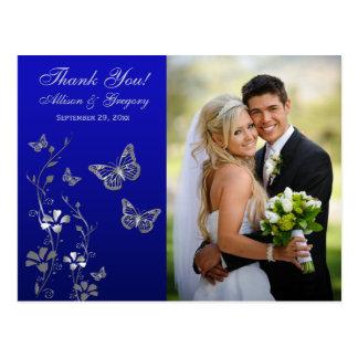 Royal Blue Silver Floral Thank You Photo Postcard