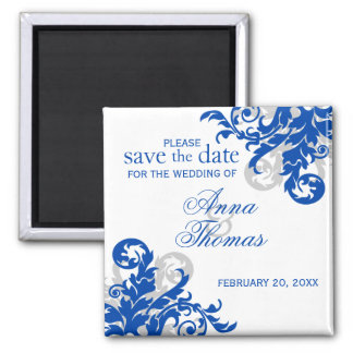 Royal Blue Silver Flourish Save The Date Magnet