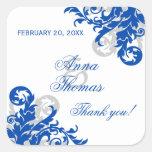 Royal Blue Silver Flourish Wedding Favor Stickers at Zazzle