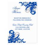 Royal Blue Silver Flourish Wedding Reception Cards Business Cards