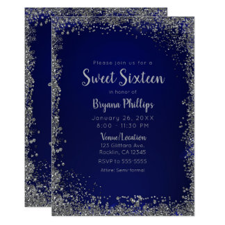 Royal Blue & Silver Glitter Glam Sweet 16 Party Invitation