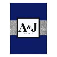 Royal Blue Silver Glitter Monogram Wedding Invite