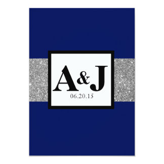 Royal Blue Silver Glitter Monogram Wedding Invite