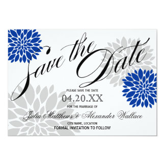 Royal Blue Silver-Gray Burst Script Save The Date Card
