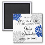 Royal Blue Silver-Gray Floral Burst Save The Date 2 Inch Square Magnet