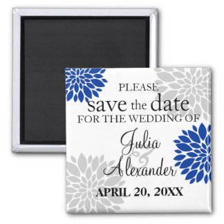 Royal Blue Silver-Gray Floral Burst Save The Date Magnet