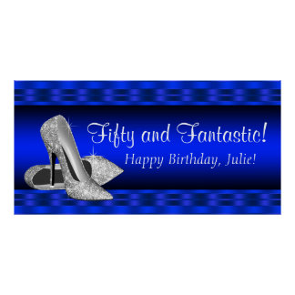 Royal Blue Silver High Heel Birthday Party Banner Poster
