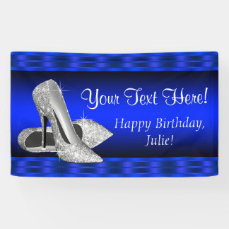 Royal Blue Silver High Heel Shoe Birthday Party Banner