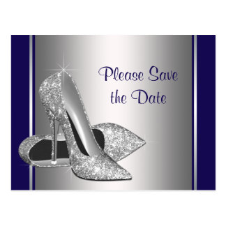 Royal Blue Silver High Heel Shoe Save The Date Postcard