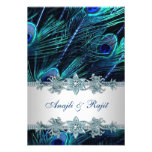 Royal Blue Silver Indian Peacock Reception Cards Announcements