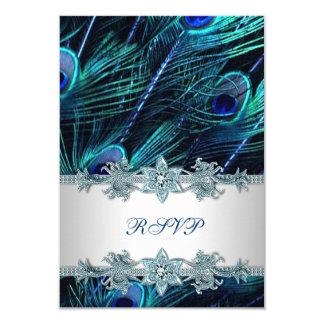 Royal Blue Silver Indian Peacock Wedding RSVP Card