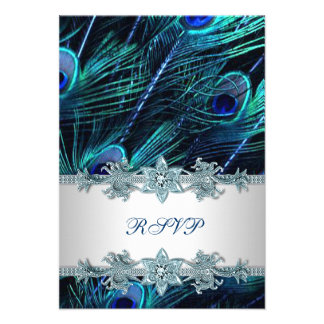 Royal Blue Silver Indian Peacock Wedding RSVP Announcement