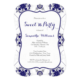 Royal Blue Silver Medallion Pattern Sweet 16 Party 5x7 Paper Invitation Card