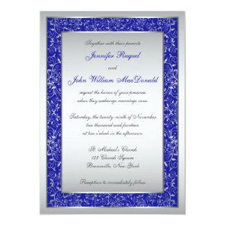 Royal Blue, Silver Ornate Scrolls Wedding Invite