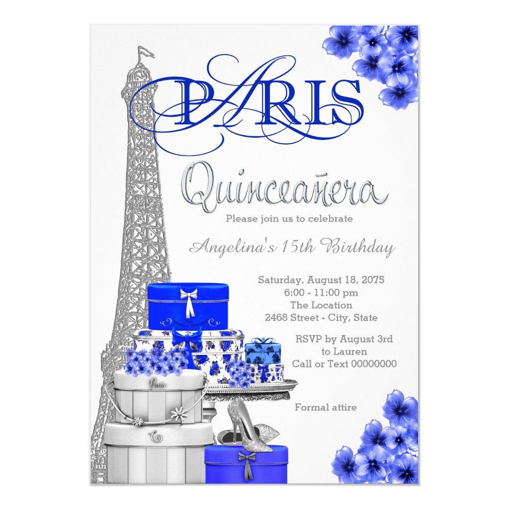 Royal Blue Silver Paris Quinceanera Invitations