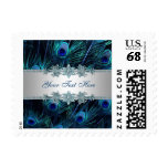Royal Blue Silver Peacock Feathers Wedding Postage Stamp
