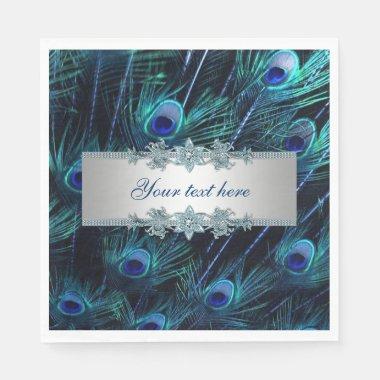 Royal Blue Silver Peacock Napkins