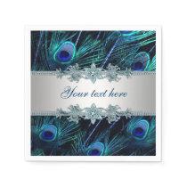 Royal Blue Silver Peacock Paper Napkin