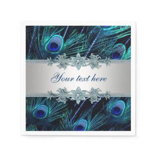 Royal Blue Silver Peacock Paper Napkins