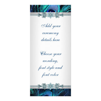 Royal Blue Silver Peacock Wedding Programs