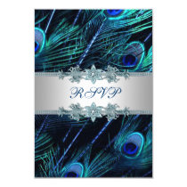Royal Blue Silver Peacock Wedding RSVP Card
