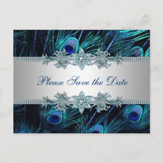 Royal Blue Silver Peacock Wedding Save the Date Announcement Postcard
