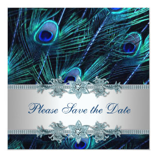 Royal Blue Silver Peacock Wedding Save the Date Invite