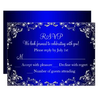 Royal Blue Silver Pearl Damask Sweet 16 RSVP Card