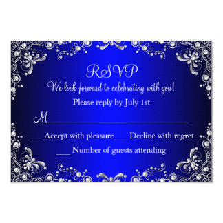 Royal Blue Silver Pearl Damask Sweet 16 RSVP 3.5x5 Paper Invitation Card